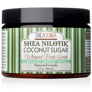Shea Nilotik' Butter Coconut Sugar Whipped Body Scrub MARRAKESH MENTHE VANILLA